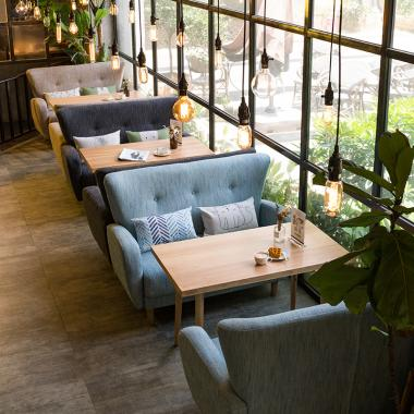 Tables and chairs in casual western restaurant cafe