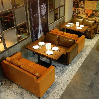 Western restaurant cafe sofa table and chair combination